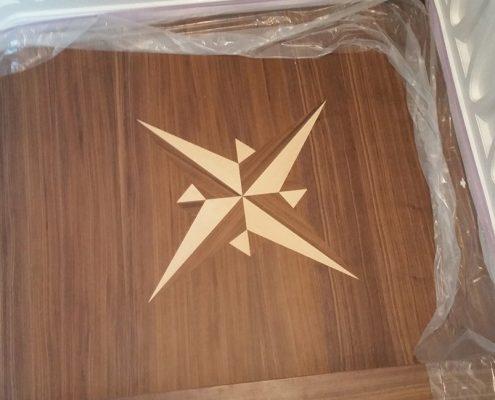 Intarsie in Sternform gefertigt und bündig eingearbeitet
