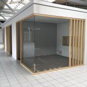 Office Box in Glas/Holz, Wände aus Sicherheitsglas